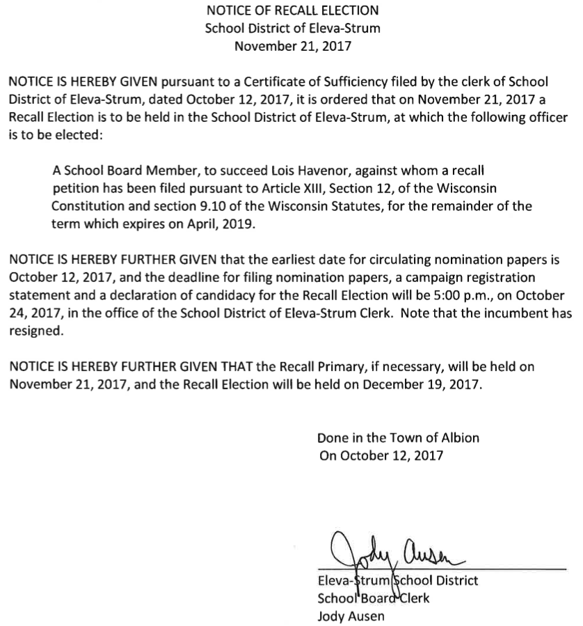 Notice Of Recall Election