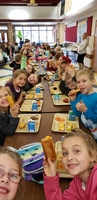 First Graders Enjoying Lunch